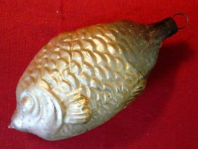Antique GERMAN GLASS Figural Christmas Ornament ~ Fish