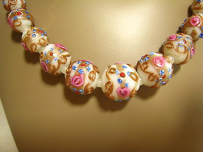 Gorgeous Antique Venetian White Murano Wedding Cake Glass Bead Necklace