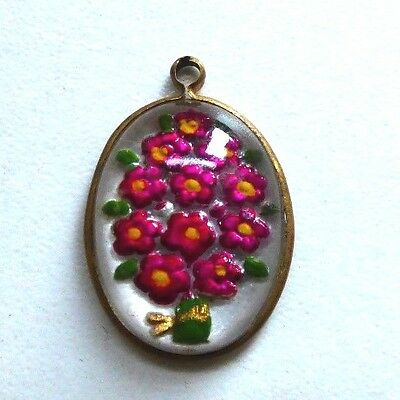 Antique Edwardian Intaglio Flower Glass Painted Pendant