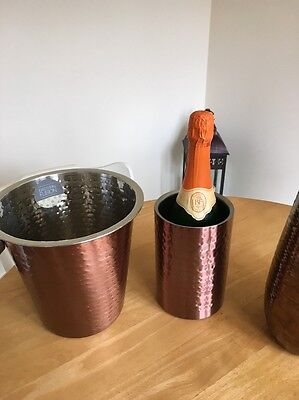 Beaten Copper Effect Double Wall  Stainless Steel  Champagne Cooler Bucket