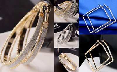 Fashion Round Hoop Earrings Women Gold Silver Stardust Circle Loop UK Seller