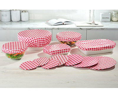 Set of 12 Gingham Lid Covers Fresh Food Containers Reusable Elasticated Kitchen