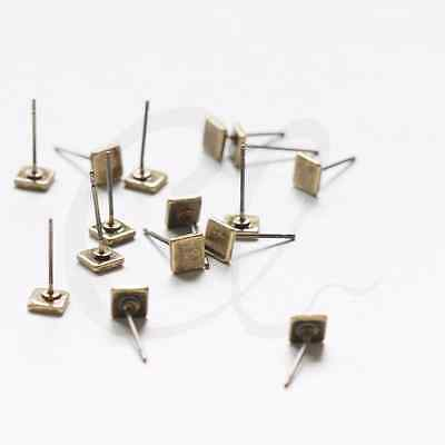 2 Pieces (One Pair) Antique Brass Earring Post - Flat Square 5mm (3078C-I-508)