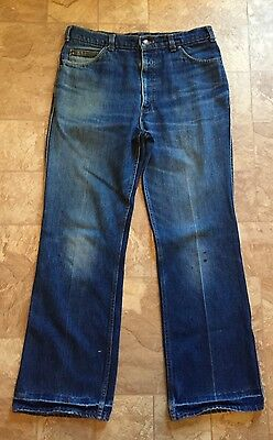 Vintage 70's Levis Movin On Jeans 35 X 32 Leather Tab