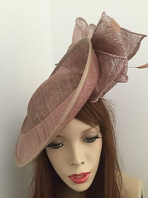Taupe Latte Fascinator Hat Formal Bow Hatinator Wedding Saucer Royal Ascot Races