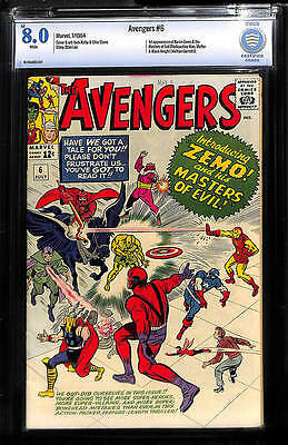 Avengers 6 Cbcs Vf 8.0 White Pgs 1 St Baron Zemo Checkmate Masters Of Evil