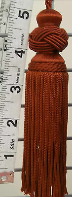 8 Large Knot With Loop Hanger  Terracotta  Coloured Tassels