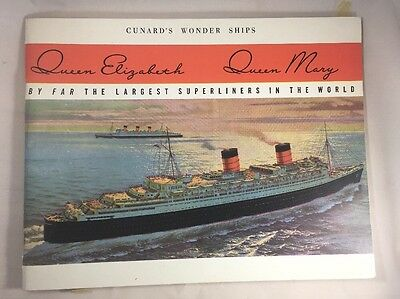Cunard's Wonder Ships: Queen Elizabeth, Queen Mary, 48 page brochure (1950s)