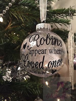 X2 Robins Appear When Loved Ones Are Near Decal Sticker DIY Bauble Decoration