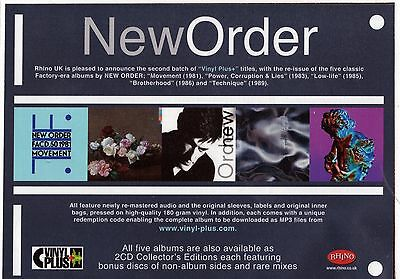 NEW ORDER Vinyl Plus+ 5 Albums Remastered - Music Press Advert A5 Laminated