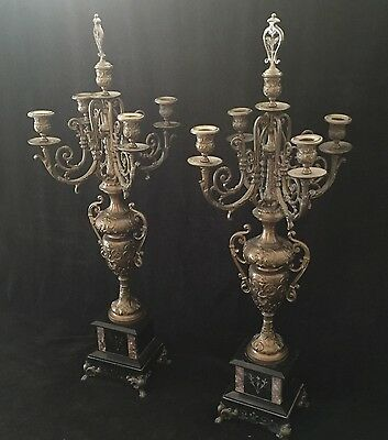 Pair Of Large French  5 Light Candelabra /candleholders Om Marble Base  H 81 Cm