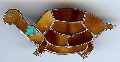 Darling Vintage Zuni Indian Silver Turquoise Brown Shell Inlay Turtle Pin
