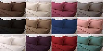 Percale Fitted Bed Sheets Single Double King Super Duvet Cover Non Iron Cotton