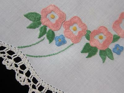 Vintage Doily Flowers & Forget-Me-Nots Hand Embroidered Linen