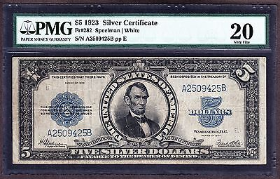 "US 1923 $5 ""Port Hole"" Silver Certificate FR 282 PMG 20 VF (-425)"
