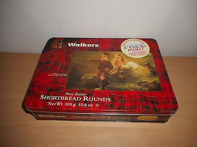 Walkers Shortbread Rounds Biscuit Tin '' Fishing In Scotland ''
