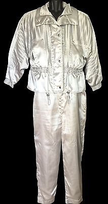 Vtg 80s LAVON Windbreaker Track Suit Coat Jacket Pants Silver Size L