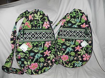 Two Vera Bradley NWT Racquet Covers in Botanica Black Green Pink Flowers