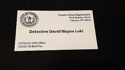PRISONERS screen used Movie Prop JAKE GYLLENHAAL Detective LOKI Buisiness Card