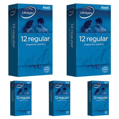 Ansell Life Styles Regular 12 Easy Fit Condoms X 5 Packs Deal