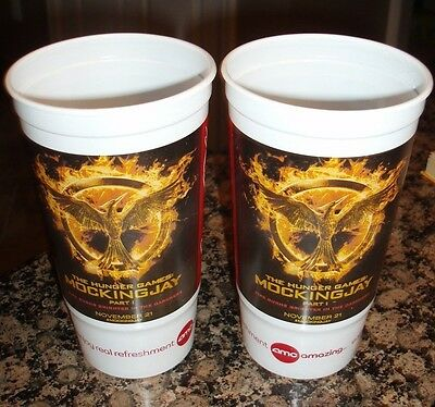 lot 2 AMC THEATER 2014 LARGE plastic HUNGER GAMES MOCKING JAY movie CUPS part 1