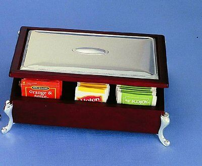 Wood English Tea Bag Tray Chest Silver Plated