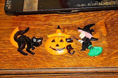 Vintage Halloween lot, set of 3 plastic cake toppers: witch, cat/moon, JOL/cat