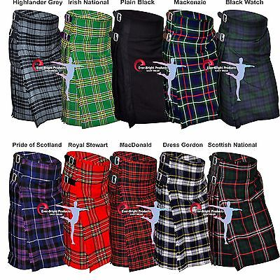 Men's 5 yard Scottish kilts Tartan kilts 13oz Highland Casual kilts 10 Tartans