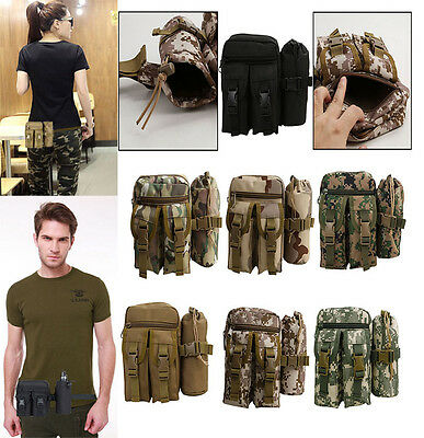 Militray Tactical Molle Water Bottle Hydration Pouch Kettle Bag Outdoor Hiking