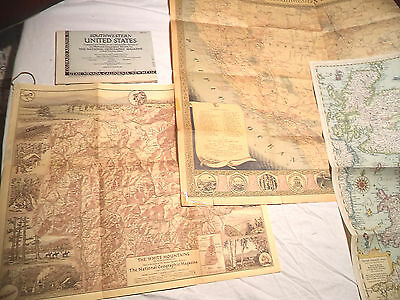 17  National Geographic Society Maps in Pull out Book 1930s-60s