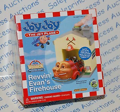 NIP Jay Jay the Jet Plane Wooden REVVIN EVAN'S FIREHOUSE Building HTF Toy Wood