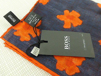 BNWT HUGO BOSS Orange Blue Floral 100% Linen Pocket Square Handkerchief Hankie