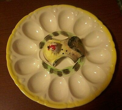 Vintage Deviled Egg Plate with Hen as tooth pick holder Made in Japan!