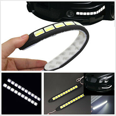 2Pcs 12V 10SMD COB Car SUV DRL Daytime Running Driving Light Flexible Led Strip