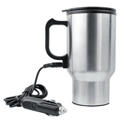 Car Heated Warm Stainless Steel Travel Electric Mug Kettle Cup12V 450ml