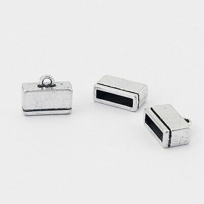 20 Antique Silver 10x2mm Flat Leather End Caps, 10mm Flat Leather Clasp Findings