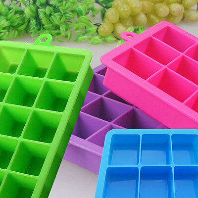 15 Cavity Large Ice Cube Tray Pudding Jelly Maker Mold Square Mould Silicone