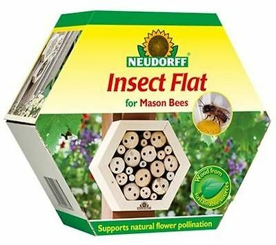 Neudorff Wood Wooden Mason Bee Bees Insect Flat Hive With Connector Brackets