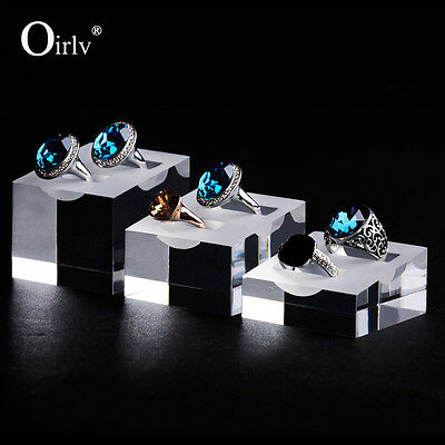 Oirlv Double Ring Jewelry Display Stand Clear Acrylic Base Frosted Top Set of 3