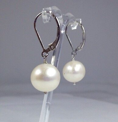 Large freshwater pearl drop earrings leverback solid Sterling Silver, new. UK.