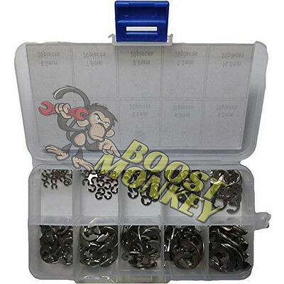 200 Piece Stainless Steel E Clip, Circlip, C Clip, Retaining Ring Assortment