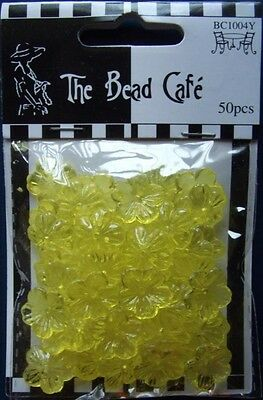 THE BEAD CAFE ~ 1 pack of Yellow Flowers (50pcs) ~ Jewellery/ Beading/ Cards etc