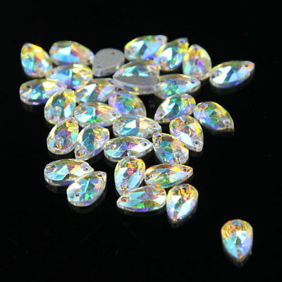 48 Pcs Water Tear Drop Shape Rhinestone Crystal AB Sew-on 2 Hole Flatback Craft