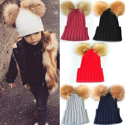 Baby Toddler Girls Boys Warm Hat Winter Beanie Double Ball Earflap Knitted Cap
