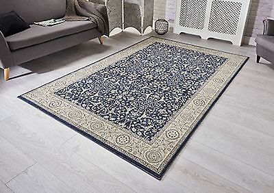 Traditional-Persian Oriental Design High Qulity Navy & Beige Rug NOW 25% OFF RRP