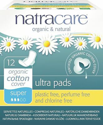 New Natracare, Organic Cotton Ultra Pads Super With Wings - 12 Count (Pack of 3)