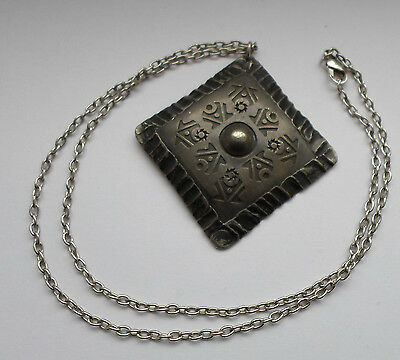 Norwegian 1960's Norsk Rolf Buodd Hand Made Pewter Pendant Necklace