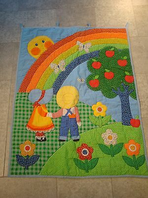 Vtg Boy Girl Rainbow Wall Hanging Baby Quilt Butterfly Apple Tree Happy Sun