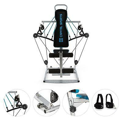 Capital Sports Kraftstation Fitnessgerät Heimtrainer Home-Gym Gummizug Blau