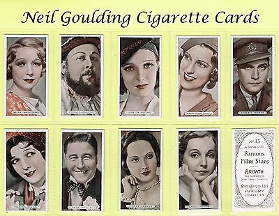 Ardath - Famous Film Stars 1934 #1 to #50 Cigarette Cards